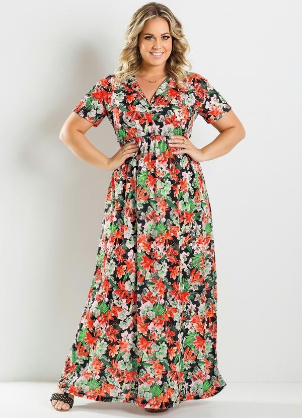 3dd99ccfad1a77 Vestido Longo Estampa Floral Manga Curta Plus Size Gordinha