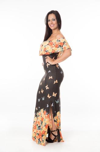 vestido longo estampa verão borboletas ombro de fora c/ bojo