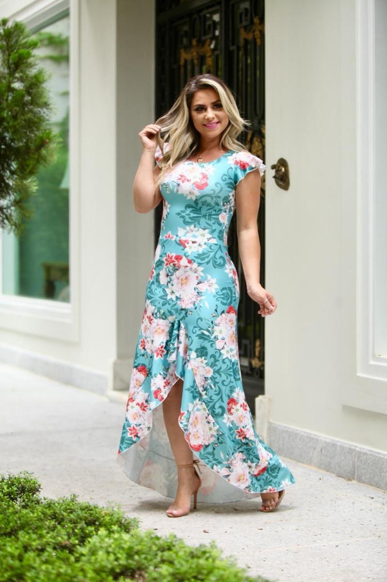 e8ec65974 vestido longo estampada mullet babado moda evangélica zm. Carregando zoom.