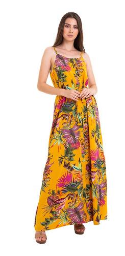 vestido longo estampado botão amarelo kinara