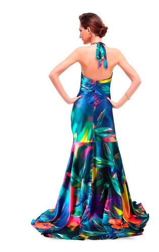 vestido longo estampado de cetim com calda