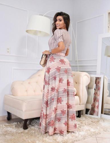 vestido longo estampado evasê manga princesa com cinto