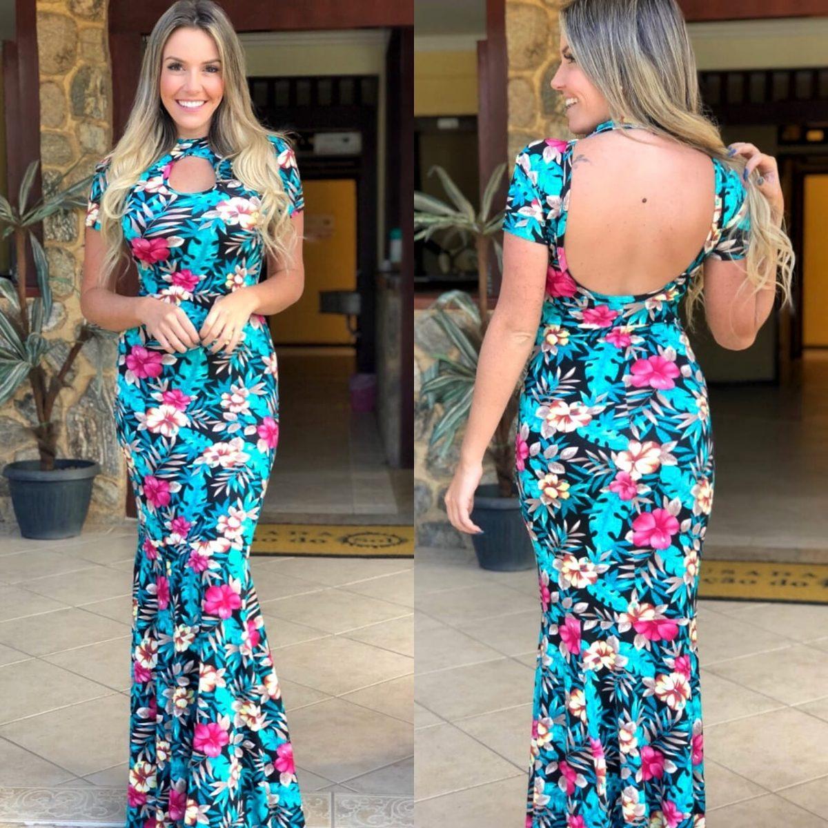 dc774ef18eb7 vestido longo estampado floral costa nua estilo sereia top. Carregando zoom.