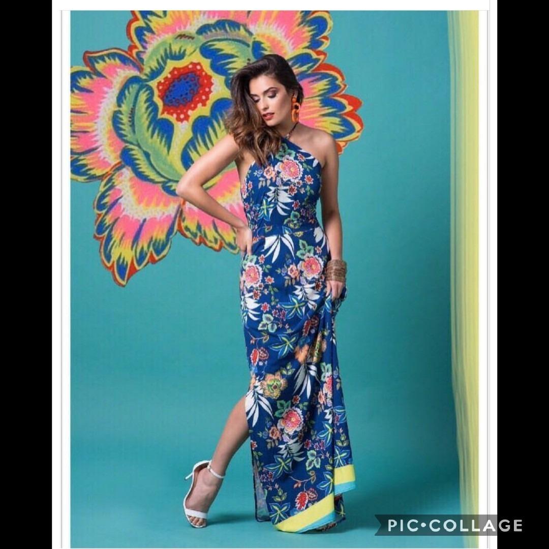 3c84bc7ea849 vestido longo estampado floral frente unica verão 2018. Carregando zoom.