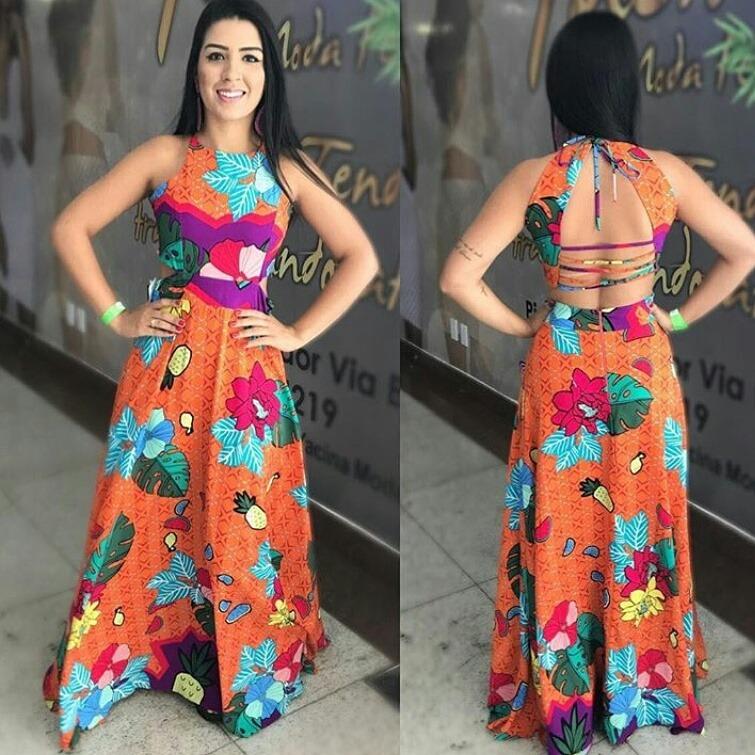 6f7db4c5ada0 Vestido Longo Estampado Floral Fundo Laranja - R$ 169,90 em Mercado Livre