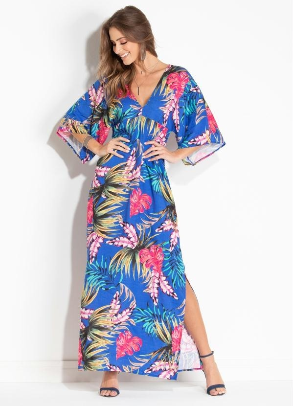 0ee0d111c vestido longo estampado folhagens azul fenda lateral 3060681. Carregando  zoom.
