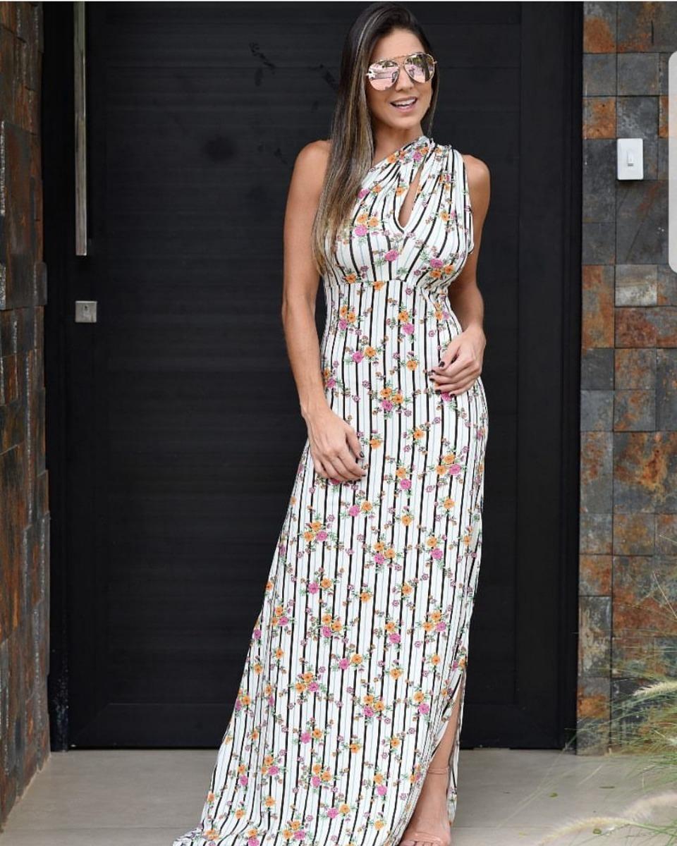 5d0e4a5aa vestido longo estampado malha viscolycra verão dia fenda. Carregando zoom.