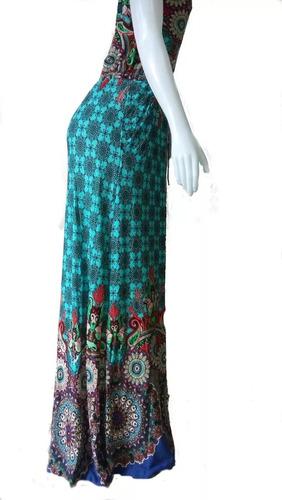 vestido longo estampado manga curta em tecido viscolycra