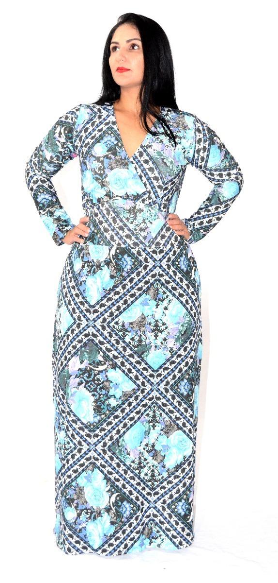 00e3574661 vestido longo estampado manga longa c  decote em v plus size. Carregando  zoom.