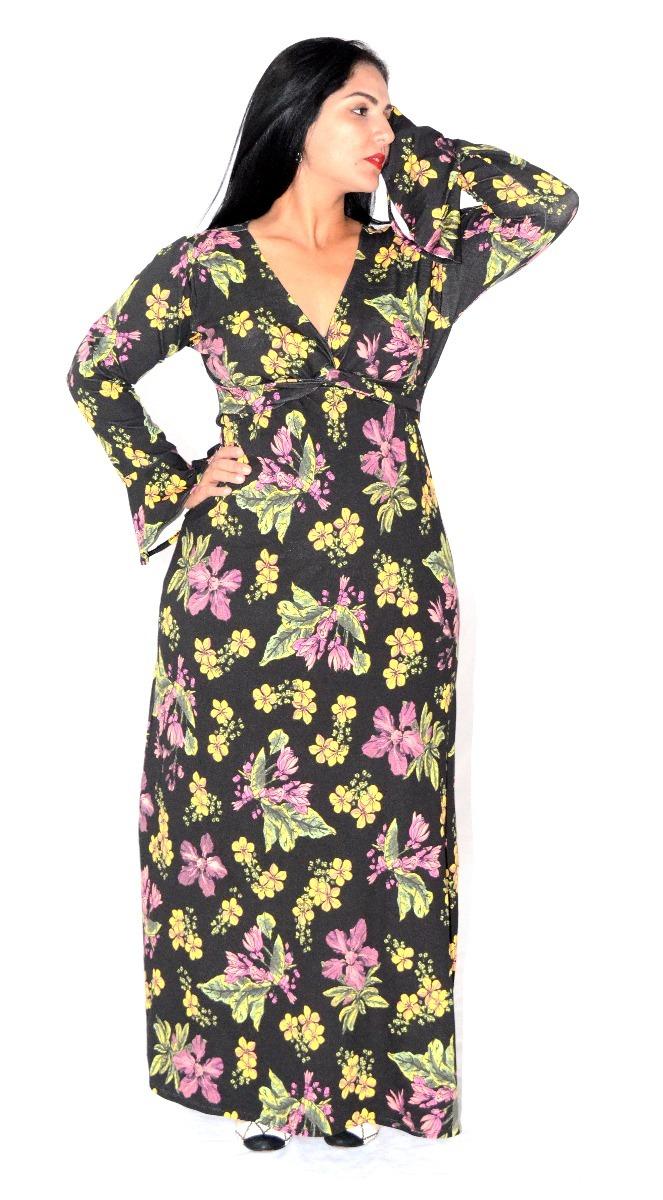 d9b6ad851b vestido longo estampado manga longa sino plus size decote v. Carregando  zoom.