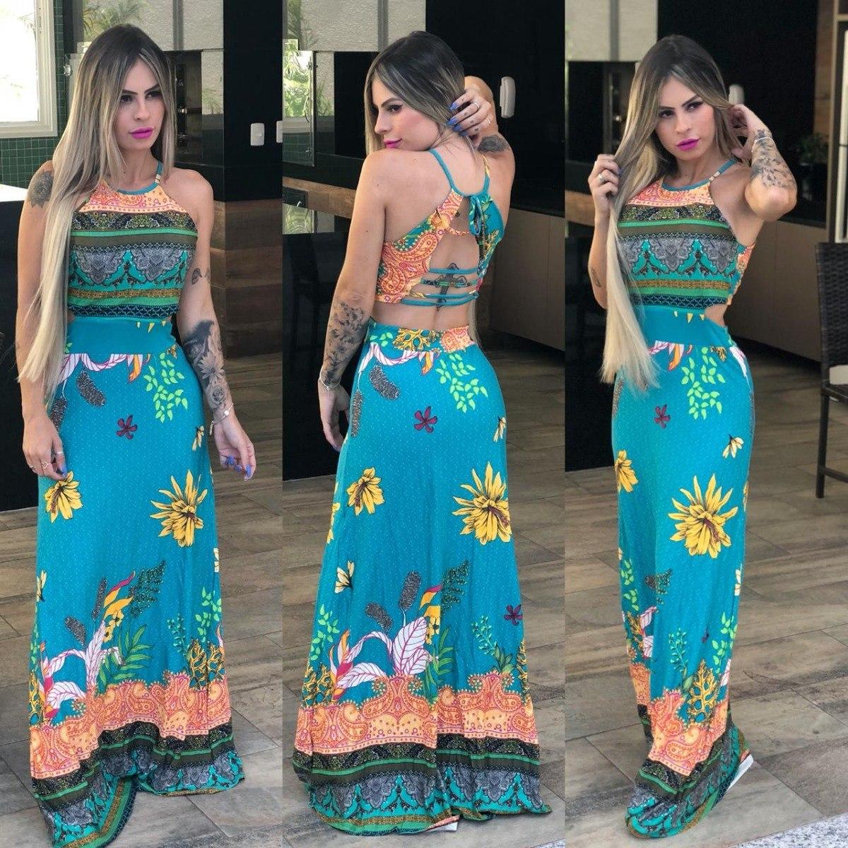 71b550ff5 vestido longo estampado moda blogueira verão 2019. Carregando zoom.