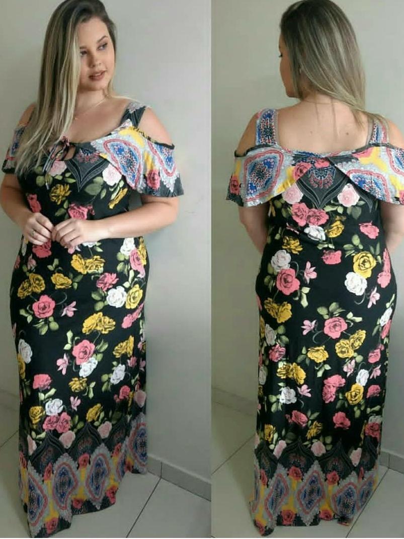 c043b88f1 vestido longo estampado plus size tamanho grande lindo top. Carregando zoom.
