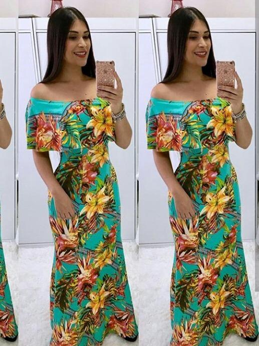 a2be760de Vestido Longo Estampado Vários Modelos Oferta Roupa Feminina - R$ 72 ...