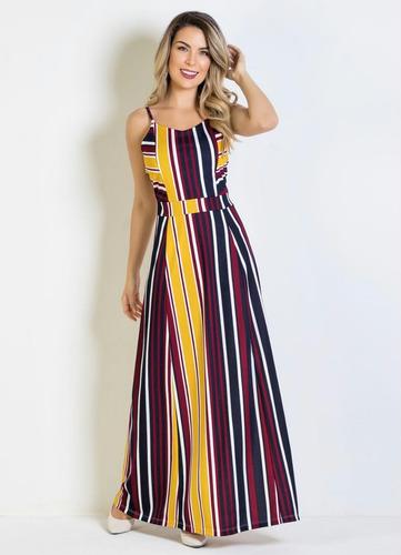 vestido longo evangélico listrado decote em v feminino festa