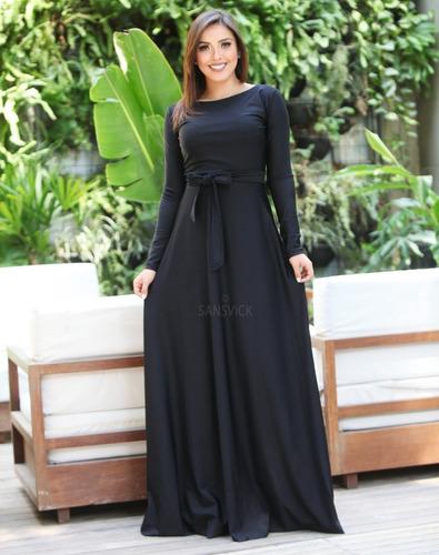 vestido longo evangélico manga longa com cinto de tecido
