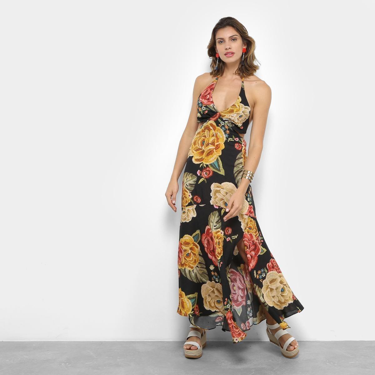 50e3906ad vestido longo farm evasê chita artesanal - cor preto+amarelo. Carregando  zoom.