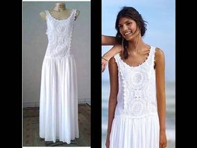 Vestido Farm Branco Longo Coleco Vestidos Usado Com O