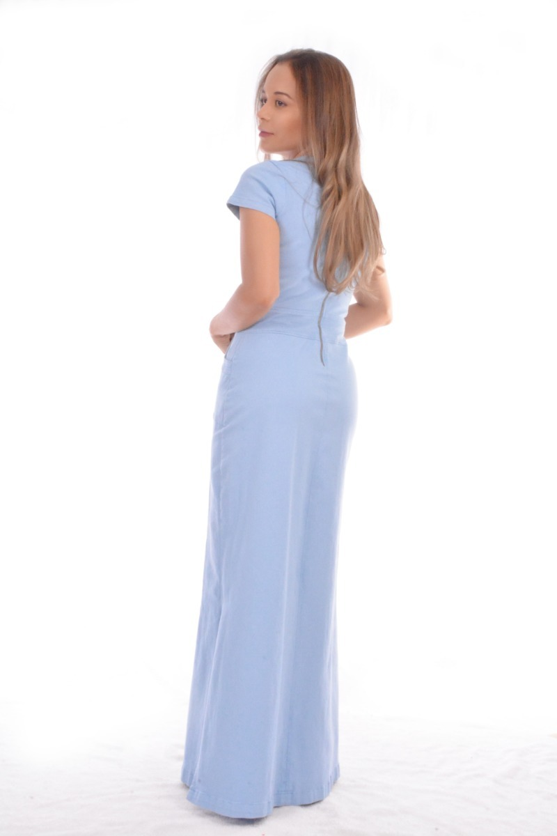 2ab5ee90a3 Vestido Jeans Longo Fendas Laycra Feminino Tendencia 2019 - R  169 ...