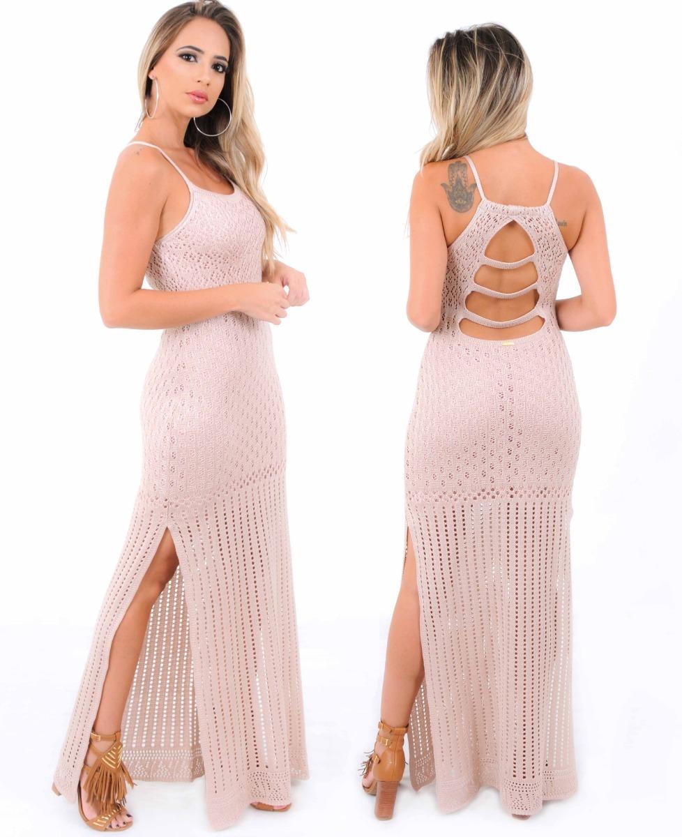 780e698f79 Vestido Longo Festa Feminino Tricot Rendado Fendas Pernas - R  98