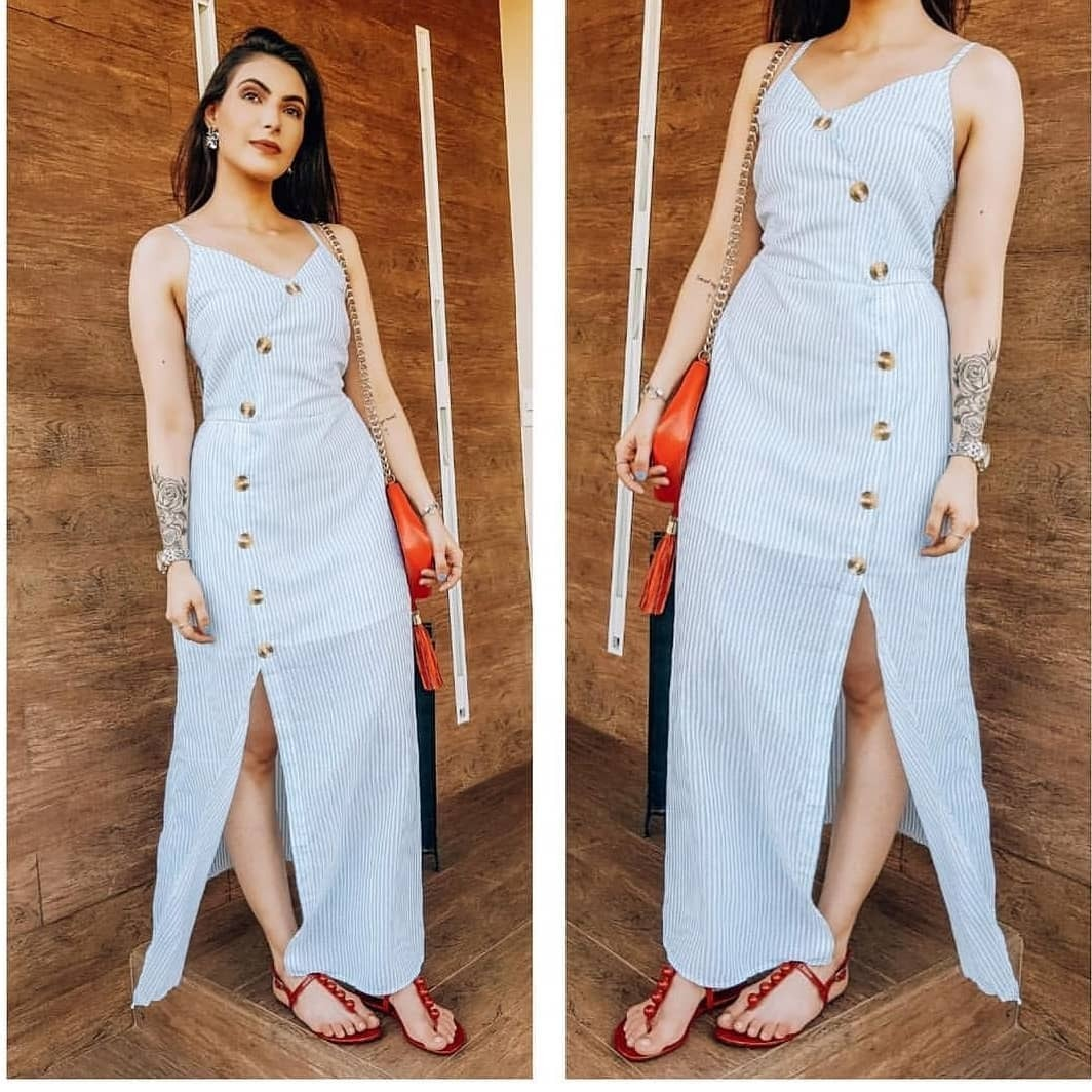 41a9c11b6 Vestido Longo De Linho Listrado Alcinha Botões Feminino - R$ 139,99 ...