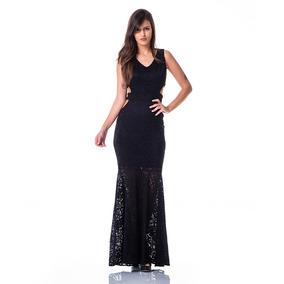 d16a121ea Vestido Renda Longo Com Abertura Na Cintura - Calçados, Roupas e ...