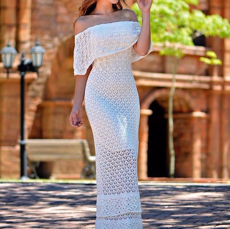 10271c58f423 Vestido Longo Feminino De Tricot Crochê Ensaio Para Gestante - R$ 78 ...