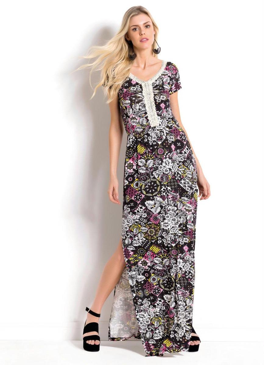 db5e959e9 vestido longo feminino estampado com fenda lateral 2258652. Carregando zoom.