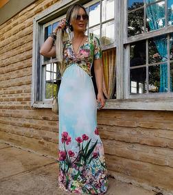 4499470f88a434 Vestido Longo Feminino Moda Verão Praia Estampado Malha 756