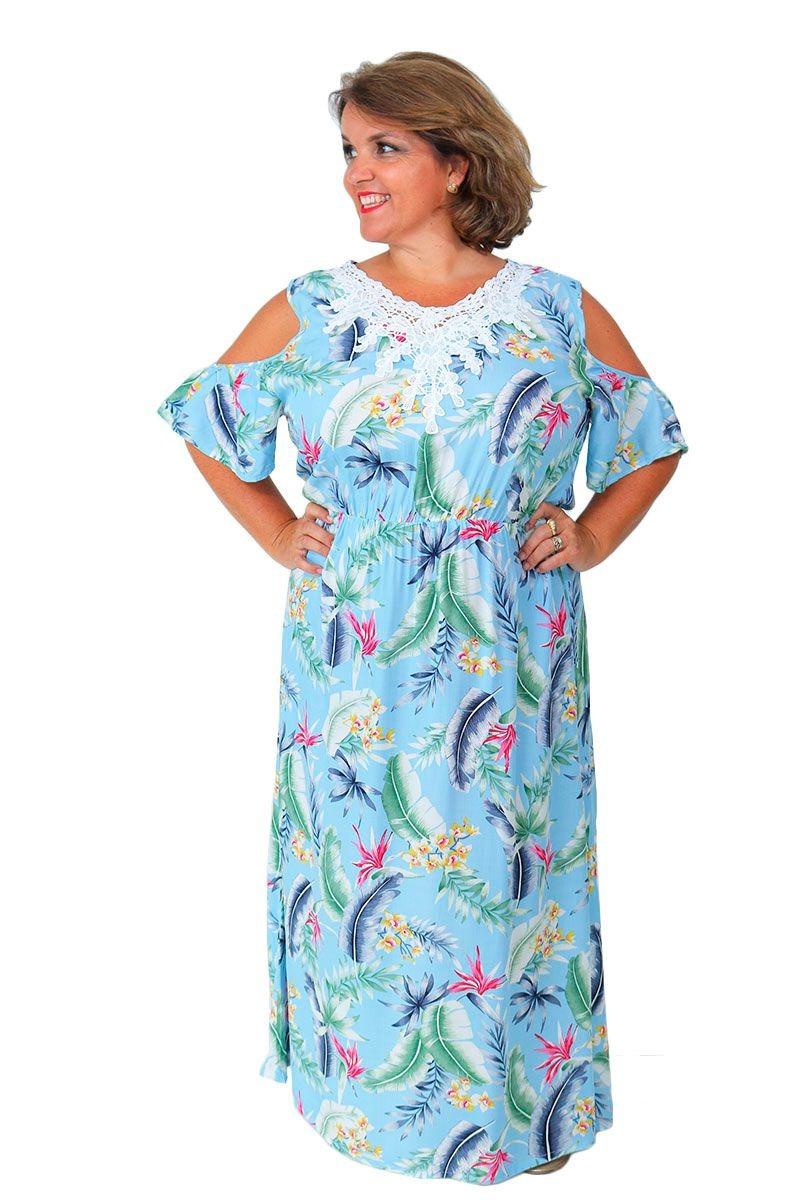fe6d6a224 vestido longo feminino plus size open shoulders floral azul. Carregando zoom .