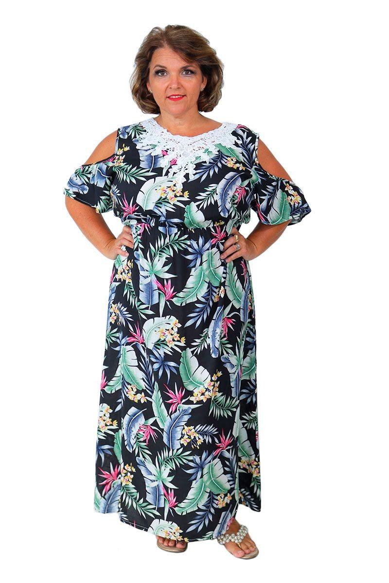 793b0c4b4 vestido longo feminino plus size open shoulders floral preto. Carregando  zoom.
