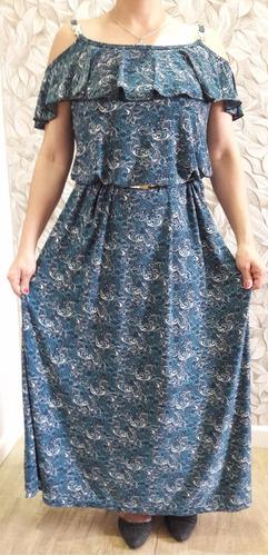 vestido longo feminino roupa tecido estampado fresquinho