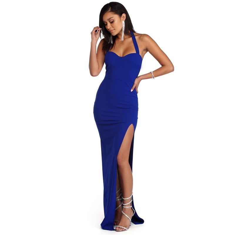 dac20f93f vestido longo feminino social festa moda 2018 fenda alça. Carregando zoom.