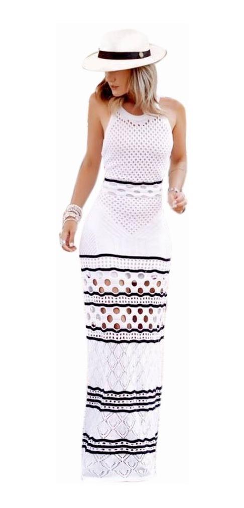 ee9374fe59dd vestido longo feminino tricot tricô listras lançamento verão. Carregando  zoom.