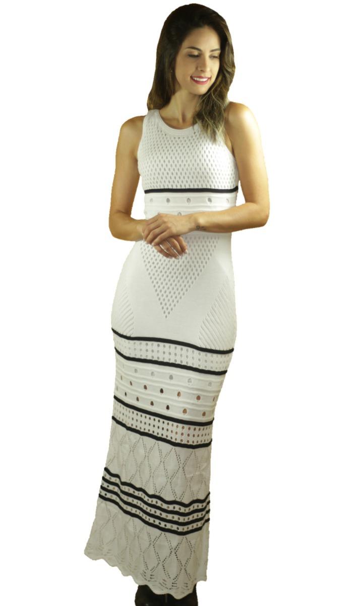 6a6ef3f3dbcf Vestido Longo Feminino Tricot Tricô Listras Moda Blogueiras - R$ 58 ...