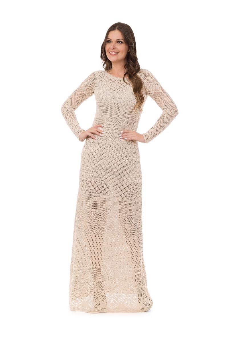 67bc36244 vestido longo feminino tricot tricô manga longa renda festa. Carregando zoom .