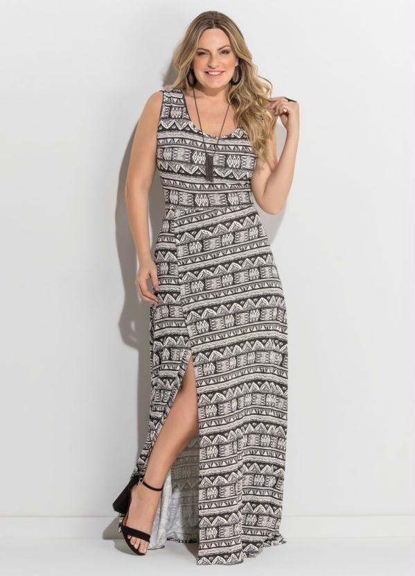 29bd6d41e9 vestido longo fenda étnico plus size quintess. Carregando zoom.
