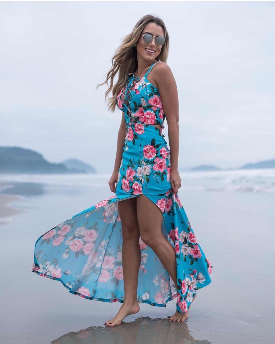 8ac1df1d6 Vestido Longo Fenda Lateral Moda Blogueira Estampado - R$ 279,90 em ...