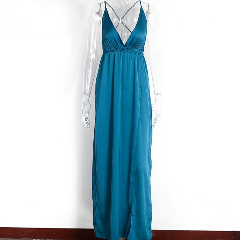 401ea6258 Vestido Longo Festa Cetim De Seda Decotado Casamento - R$ 184,90 em ...
