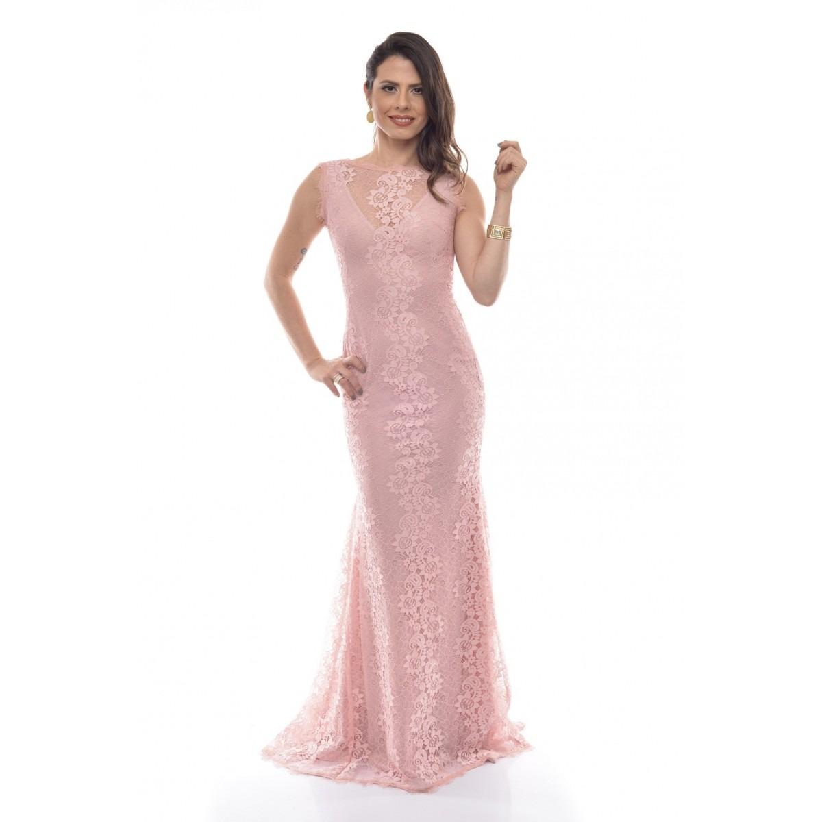 04ee240490 vestido longo festa rendado decote canoa georgia - rosa. Carregando zoom... vestido  longo festa. Carregando zoom.