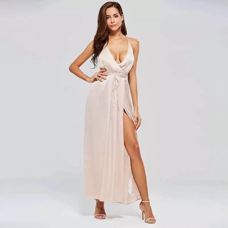 42ee575ce Vestido Longo Festa Cetim De Seda Decotado Casamento - R$ 149,99 em ...