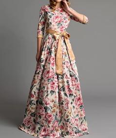 b66945def3 Vestido Longo Cetim Seda Estampado - Vestidos Femininas no Mercado Livre  Brasil