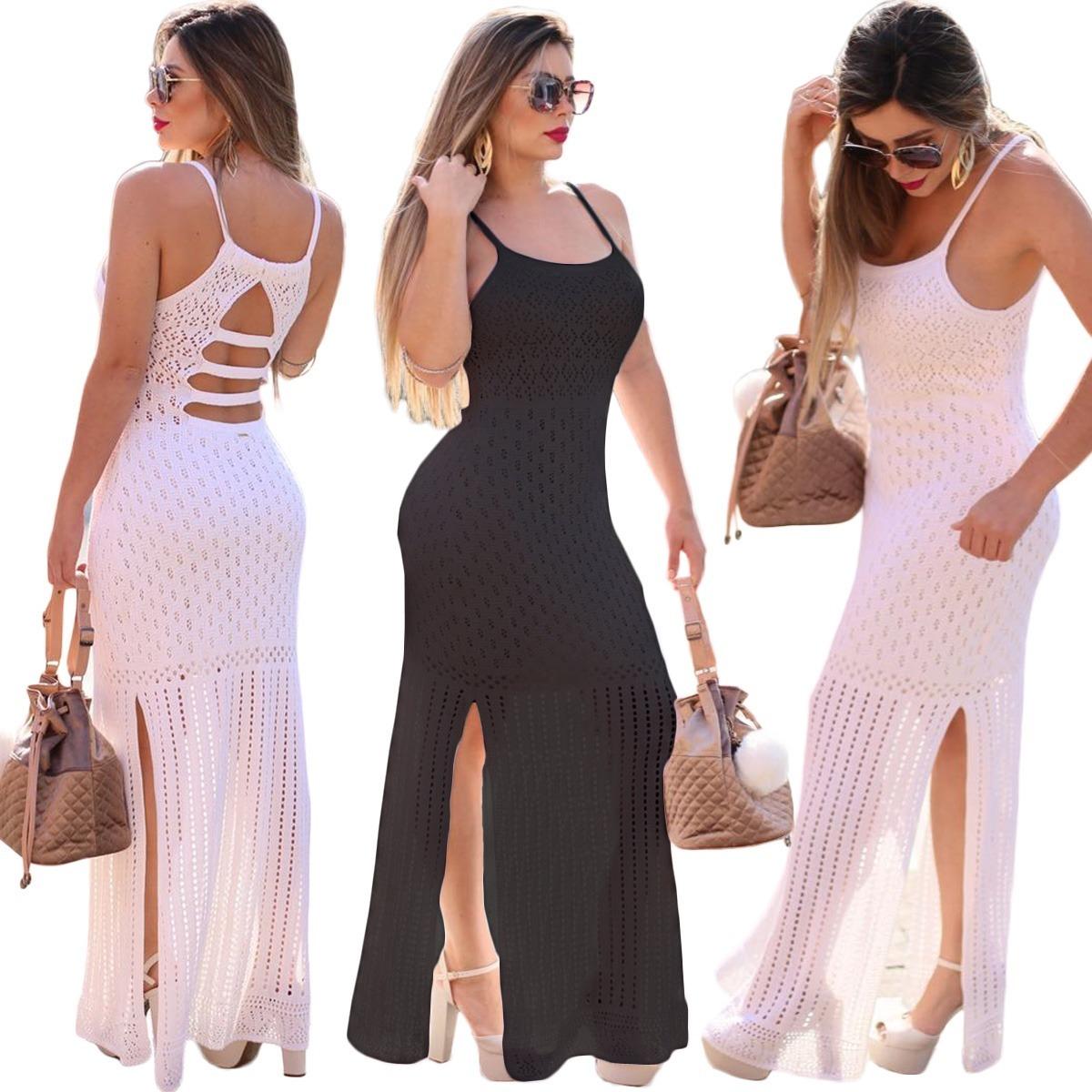b00e6b2f46 vestido longo festa feminino tricot rendado fendas pernas. Carregando zoom.