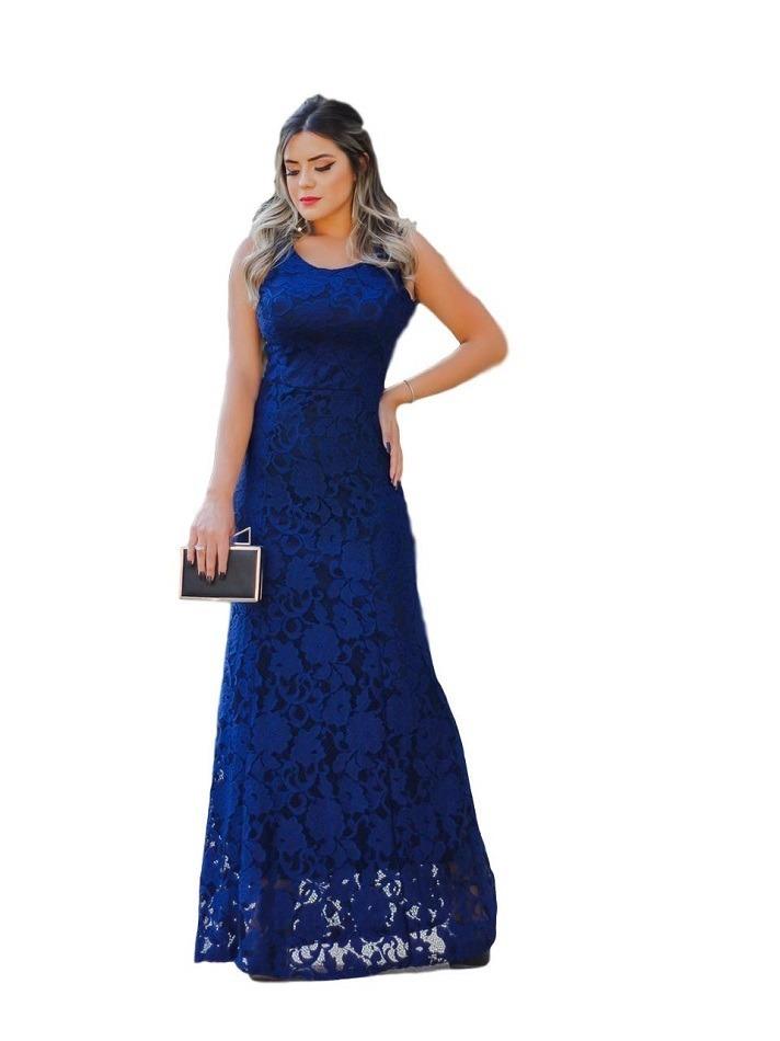 7996fab111 vestido longo festa madrinha azul renda formatura casamento. Carregando zoom .