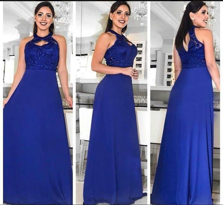 8ebb1d301e8fd Vestido Longo Festa Madrinha Casamento Azul Royal / Tifany - R$ 189 ...