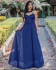 29ea38055cea3 Vestido Festa Longo Azul Royal Lindissimo - Calçados, Roupas e Bolsas com o  Melhores Preços no Mercado Livre Brasil