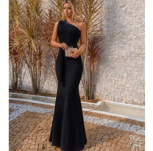 vestido longo festa madrinha sereia ombro só #drapeado
