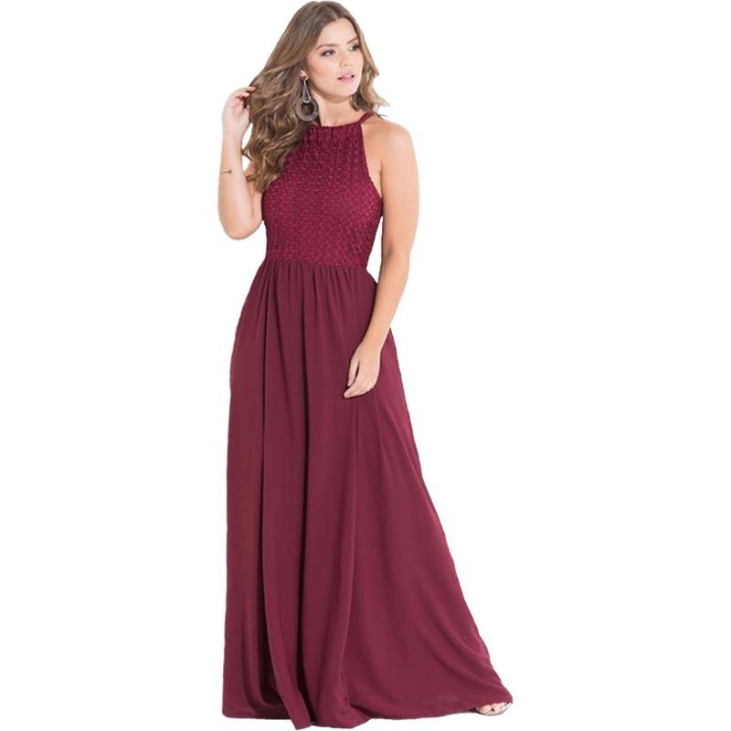 2ad36543b30e vestido longo festa marsala madrinha casamento plus size. Carregando zoom.
