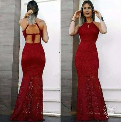 9680cf623 Vestido Longo Festa Renda Casamento Bojo Madrinha Sereia - R$ 92,99 ...