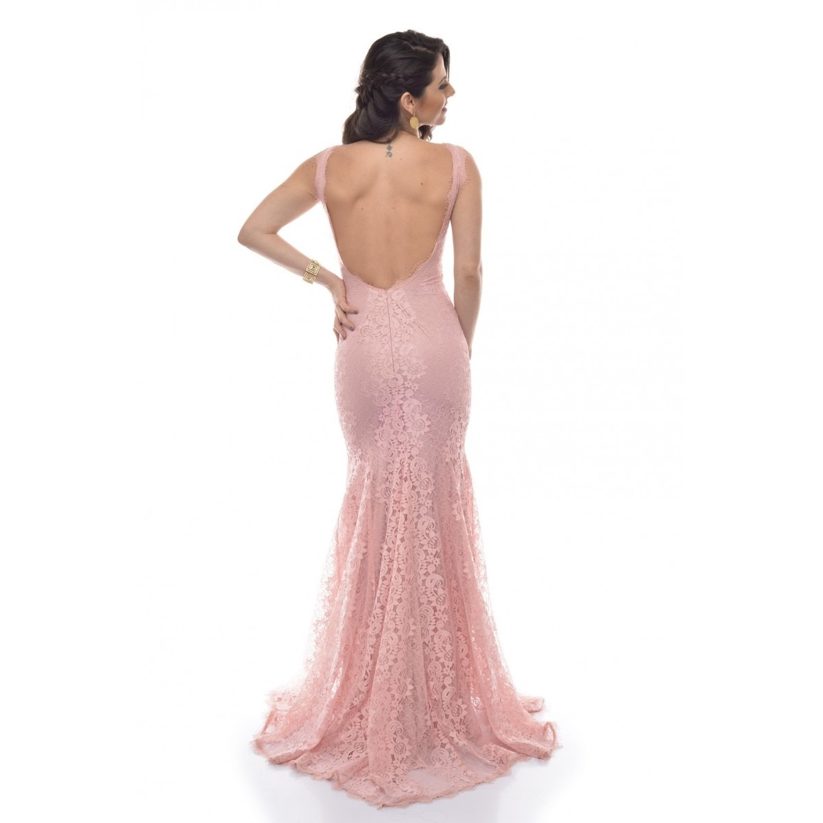 1550742061 vestido longo festa rendado decote canoa georgia - rosa. Carregando zoom.