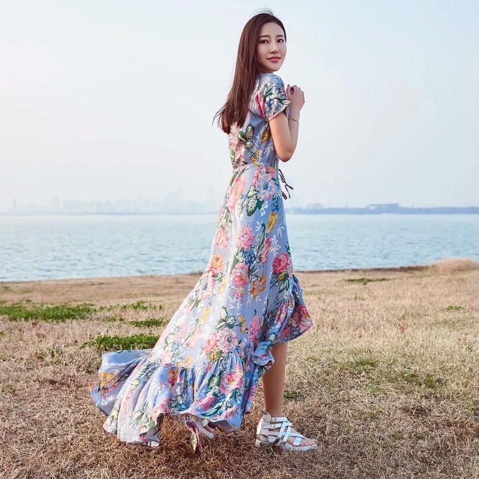 9c18daa7d vestido longo floral babado mullet decote festa formatura. Carregando zoom.